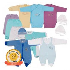 Set complet toamna-iarna baieti 0-3 luni Pifou, Albastru