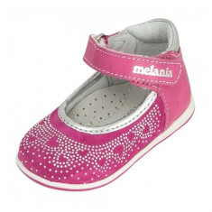Pantofi din piele intoarsa cu strasuri 18 Melania - Pantofi copii Melania, Roz