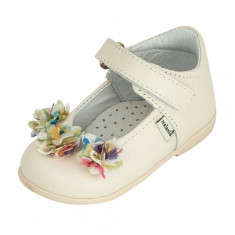 Pantofi bej cu flori aplicate multicolore 23 Melania - Pantofi copii