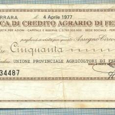 A2185ASIGNAT BILET BANCA DI CREDITO AGRARIO DI FERRARA-50 LIRE-starea cese vede - Cambie si Cec