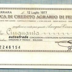 A2186ASIGNAT BILET BANCA DI CREDITO AGRARIO DI FERRARA-50 LIRE-starea cese vede - Cambie si Cec