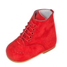 Cizmulite rosii din piele intoarsa 18 (10.5 cm) Leon Shoes - Cizme copii, Rosu