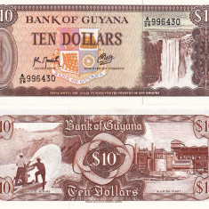 GUYANA 10 dollars ND 1989 UNC!!!