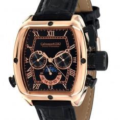 Ceas automatic CALVANEO Tonneau 2015 RoseGold original 100% - Ceas barbatesc Calvaneo, Lux - elegant, Mecanic-Automatic, Otel, Piele, Data