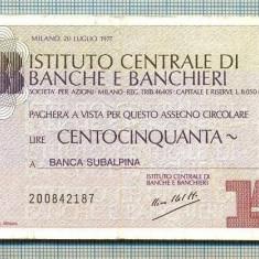 A2199 ASIGNAT BILET BANCA SUBALPINA - ICBB - 150 LIRE-starea cese vede - Cambie si Cec
