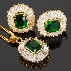Set bijuterii Glamour Emerald placat aur 18k Cod produs: S110 - Set bijuterii placate cu aur