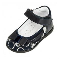 Pantofi bleumarin cu scai 19 Melania - Pantofi copii Melania, Piele intoarsa