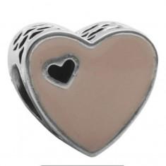 Talisman INIMA ROZ charm placat argint 925 pt bratara PANDORA - Bratara argint