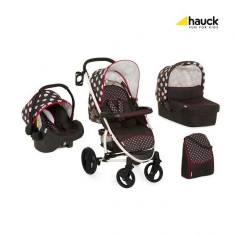 Carucior 3 in 1 Malibu XL All In One Dots Black Hauck - Carucior copii 3 in 1
