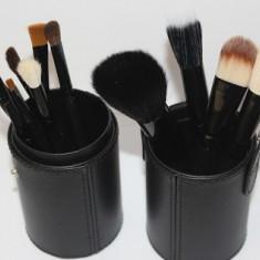 Set 12 pensule machiaj butoias negru Fraulein38 - Pensula machiaj
