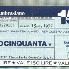 A2196 ASIGNAT BILET BANCA BANCO AMBROSIANO - 150 LIRE-starea cese vede - Cambie si Cec