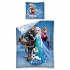 Lenjerie de pat Frozen Sharing the World 160 x 200 cm Disney - Lenjerie pat copii Disney, Multicolor