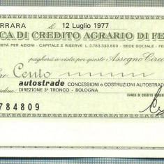 A2188ASIGNAT BILET BANCA DI CREDITO AGRARIO DI FERRARA-100 LIRE-starea cese vede - Cambie si Cec
