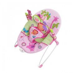 Balansoar cu vibratii Sweet Safari Pretty in Pink 60116 Bright Starts - Balansoar interior Bright Starts, Roz
