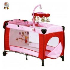 Patut pliant cu 2 nivele si carusel Sleeper Deluxe 120 x 60 Roz BabyGo - Patut pliant bebelusi BabyGo, 120x60cm