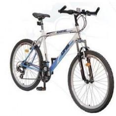 Bicicleta DHS Adventure - Mountain Bike DHS, 26 inch, Numar viteze: 21, Otel, Alb-Albastru