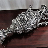 CARAFA MUZEALA  DIN ARGINT MASIV 925 DIN ANII 1900 ,STERLING SILVER ,7430 gr, Statueta