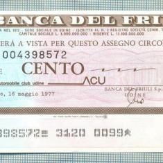 A2201 ASIGNAT BILET LA BANCA DEL FRIULI - 100 LIRE-starea cese vede - Cambie si Cec