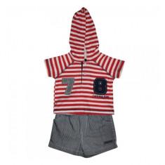 Set tricou si panatalon scurt rosu-gri 6-9 luni Calvin Klein