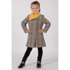 Palton din stofa caro cu guler mustar 806 9 ani Art Limited, Multicolor