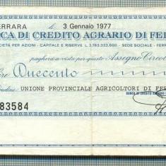 A2190ASIGNAT BILET BANCA DI CREDITO AGRARIO DI FERRARA-200 LIRE-starea cese vede - Cambie si Cec