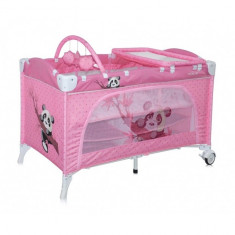 Patut pliant Travel Kid 2 Niveluri 120 x 60 cm Pink Panda Lorelli - Patut pliant bebelusi Lorelli, Roz