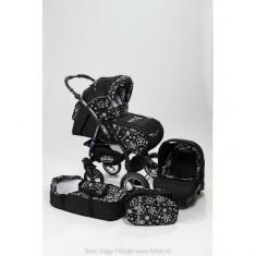 Carucior 3 in 1 Junior Plus Black Flowers Baby-Merc - Carucior copii 3 in 1