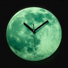 Ceas de perete fosforescent Moon Glow, diametru 34 cm