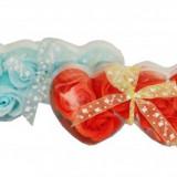 Set trandafiri de sapun 6 buc. inimioare - Dozator sapun
