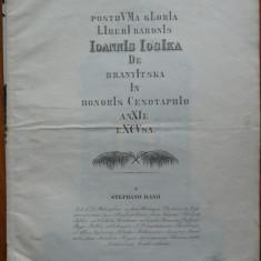 Ferpar de lux, cu gravura, la moartea baronului Ioannis Iosika din Cluj, 1844