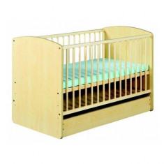 Patut din lemn cu sertar Karolina II Natur Klups - Patut lemn pentru bebelusi