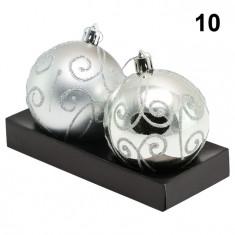 Globuri Deluxe pentru Pomul de Craciun, Model 10, Diametru 7 cm, Set 2 buc. - Globuri brad