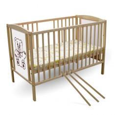 Patut copii Ursulet 120 x 60 cm First Smile - Patut lemn pentru bebelusi First Smile, Maro