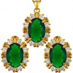 Set bijuterii Glamour Oval Green Crystal placat aur 18k Cod produs: S112 - Set bijuterii placate cu aur