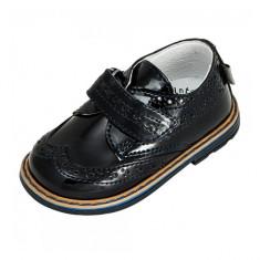 Pantofi din lac cu scai 21 Melania - Pantofi copii Melania, Negru