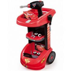 Troliu service Cars cu masinuta Fulger McQueen Smoby - Scule si unelte, Plastic