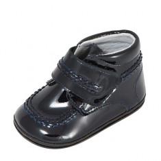 Ghetute bleumarin din lac 16 (9.5 cm) Leon Shoes - Ghete copii