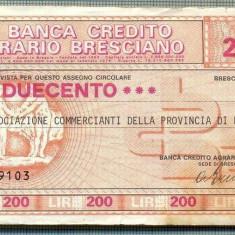 A2191ASIGNAT BILET BANCA DI CREDITO AGRARIO BRESCIANO-200 LIRE-starea cese vede - Cambie si Cec