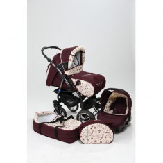 Carucior 3 in 1 Junior Dark Red Flowers Baby-Merc - Carucior copii 3 in 1