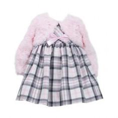 Set rochita si bolero roz in carouri Baby 0-3 luni Bonnie Jean