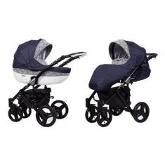 Carucior 3 in 1 Mila Black Blue Lace Kunert - Carucior copii 3 in 1