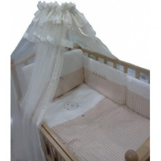 Set lenjerie de pat 7bb piese Sogni D'oro Ecru Nino - Lenjerie pat copii Nino, Alb