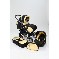 Carucior 3 in 1 Junior Black Yellow Baby-Merc - Carucior copii 3 in 1