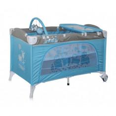 Patut pliant Travel Kid 2 Niveluri 120 x 60 cm Blue Toy Train Lorelli - Patut pliant bebelusi Lorelli, Roz