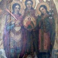 Icoana cu fata dubla Sf. Arhangheli, verso Botezul Domnului, semnata Stelian P. Ghimpati - Pictor roman