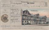 BAD DORNA , VATRA DORNEI , TELEGRAMA- CARTE POSTALA CU WALDPARKHOTEL CIRC. 1908, Circulata, Printata