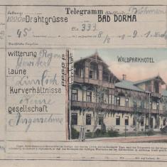 BAD DORNA, VATRA DORNEI, TELEGRAMA- CARTE POSTALA CU WALDPARKHOTEL CIRC. 1908 - Carte Postala Bucovina 1904-1918, Circulata, Printata