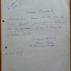 Dcument scris si semnat olograf de Marin Preda, 1958 - Autograf