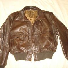 Geaca pilot/aviator, barbati, din piele naturala de cal SCHOTT USA vintage - Geaca barbati Schott, Marime: 54, Culoare: Maro