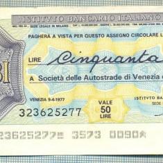 A2265 ASIGNAT BILET BANCA L'ISTITUTO BANCARIO -50 LIRE-starea cese vede - Cambie si Cec